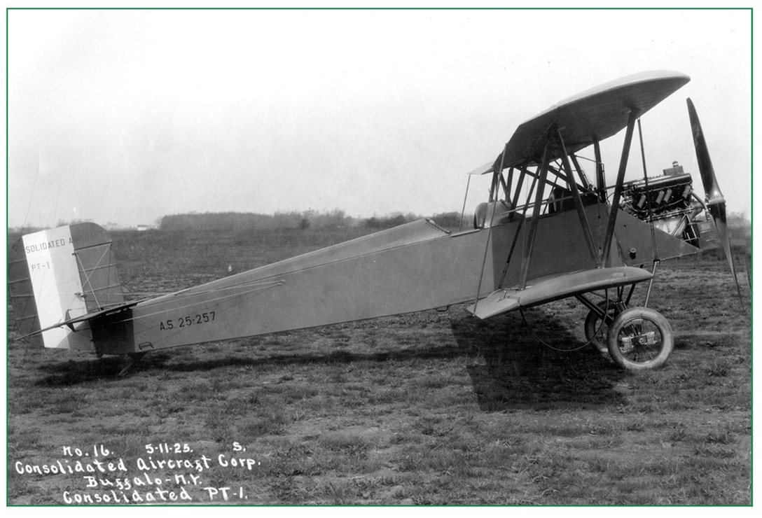 """Consolidated Aircraft Corporation PT-1 """"Trusty"""" on the line at Robertson Field, Saint Louis, 1925.  The PT-1 was a bi-plane primarily utilized for training pilots (131st Bomb Wing file photo/RELEASED)"""