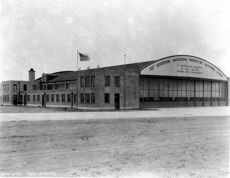 """Newly constructed 110th Observation Squadron """"Hanger One"""" at Robertson Field, Saint Louis, 1932. (131st Bomb Wing file photo/RELEASED)"""