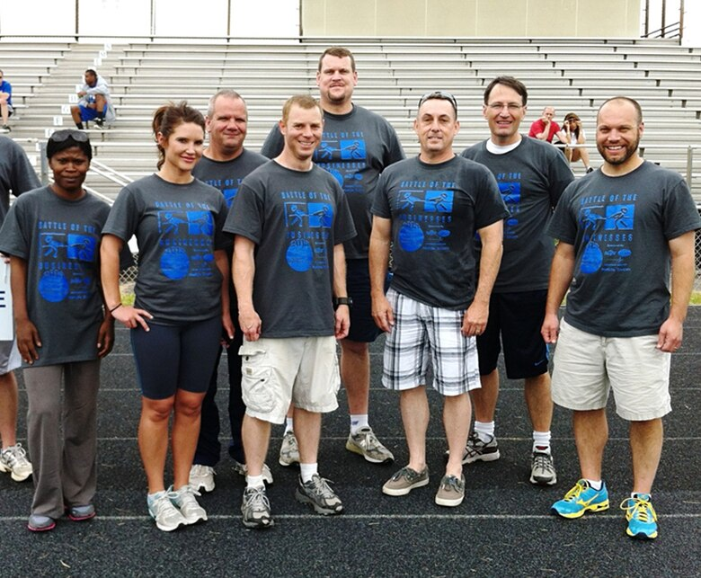 OSI's Battle of the Businesses team from Wright Patterson Air Force Base, Ohio group up for a picture. The annual Battle of the Businesses is the primary fund raising event for the Special Olympics of Greater Dayton, with competitive events occuring throughout the first week of June. (U.S. Air Force Photo/Courtesy of SA Gustav Cariglio)