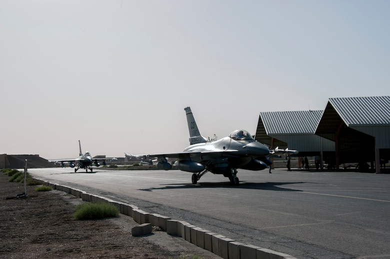 F-16 Fighting Falcons from the Colorado Air National Guard arrives at a training base in Northern Jordan as part of the Eager Lion exercise. Eager Lion is a U.S. Central Command-directed, irregular warfare-themed exercise focusing on missions the United States and its coalition partners might perform in support of global contingency operations. (U.S. Air National Guard photo by Senior Master Sgt. John P. Rohrer)