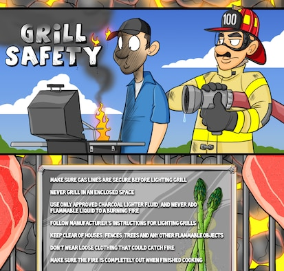 Grilling safety (U.S. Air Force illustration/Staff Sgt. Austin M. May)