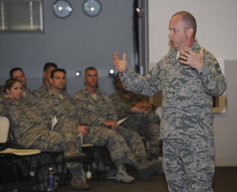 Chief Master Sgt. of the Air National Guard James W. Hotaling addresses the Combat Operations Group of the Oregon Air National Guard during a town hall event at Camp Rilea, Ore., June 20, 2013. Hotaling, a former member of the Oregon Air Guard, took questions about changes and policies that effect citizen Airmen during his visit. (Air National Guard photo by Tech. Sgt. John Hughel, 142nd Fighter Wing Public Affairs)