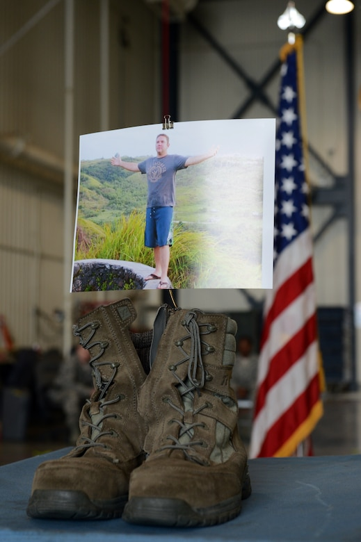 Members of the Nebraska Air National Guard's 155th Air Refueling Wing participate in a memorial service for Senior Airman Dale Butler at the Nebraska National Guard air base in Lincoln, Neb., June 8, 2013. Butler was killed in a civilian aircraft accident near Norfolk, Neb., April 27, 2013. (U.S. Air National Guard photo by Staff Sgt. James Lieth/Released)