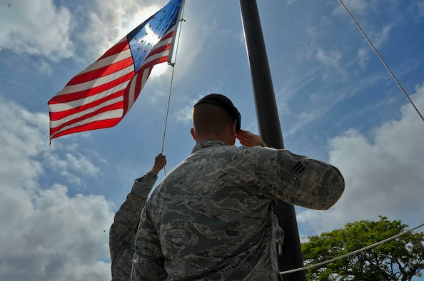 Students from the Andersen Airman Leadership School participate in a retreat ceremony at the end of the duty day on Andersen Air Force Base, Guam, June 19, 2013. During ALS, Airmen hone their knowledge of military customs and courtesies and practice skills like marching formations, flag folding, and reveille and retreat ceremonies.