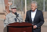 CHEYENNE MOUNTAIN AIR FORCE STATION, Colo. - Army Gen. Charles H. Jacoby, Jr., NORAD and USNORTHCOM commander, introduces Secretary of Defense Chuck Hagel at a media event at Cheyenne Mountain AFS, June 28. Hagel spoke to local and national media about his visit to Colorado Springs, efforts to address suicides in the service, sequester and sexual assault prevention. It was Hagel's first trip to Colorado Springs since he was appointed secretary of defense in February. (U.S. Air Force photo by Tech. Sgt. Thomas J. Doscher)