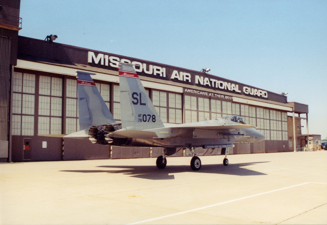 """A McDonnell Douglas F-15A """"Eagle"""" of the 131st Fighter Wing in front of Hanger 1 at Lambert Air National Guard Base, Nov 2004..(131st Bomb Wing file photo/RELEASED)"""