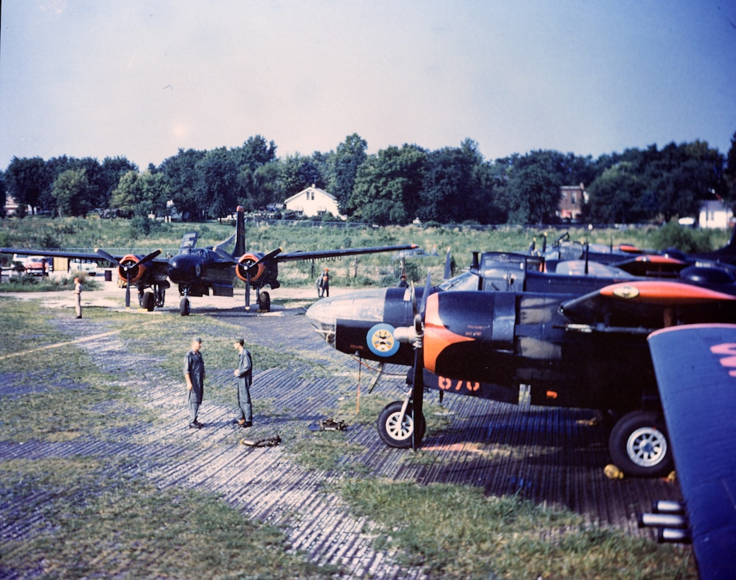 North American B-26 Bombers of the 131st Fighter-Bomber Wing, Missouri Air National Guard, at an unknown forward location.   (131st Bomb Wing file photo/RELEASED)