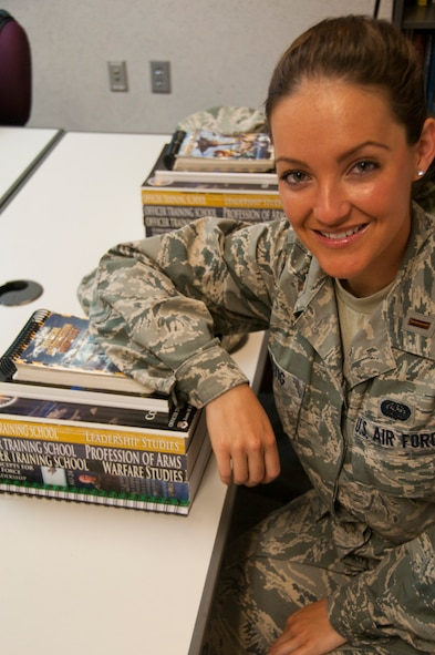 2nd Lt. Cara Lustig, Commissioned Officer Training kilo flight, sits in her