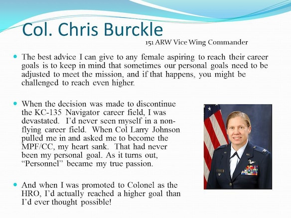 The Utah Air National Guard commemorated Women's History Month on base, March 3, with a presentation by the Vice Wing Commander, Col. Christine Burckle. In her presentation, Burckle highlighted women's roles throughout military history and offered advice to women who currently serve. (U.S. Air Force photo courtesy of the Utah Air National Guard)(RELEASED)