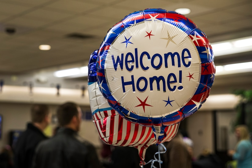 A welcome-home balloon floats in the passenger terminal during the 14th Airlift Squadron redeployment March 3, 2013, at Joint Base Charleston - Air Base, S.C. More than 100 Airmen from the 14th AS returned home from a 120-day deployment to Southwest Asia. (U.S. Air Force photo/ Senior Airman George Goslin)