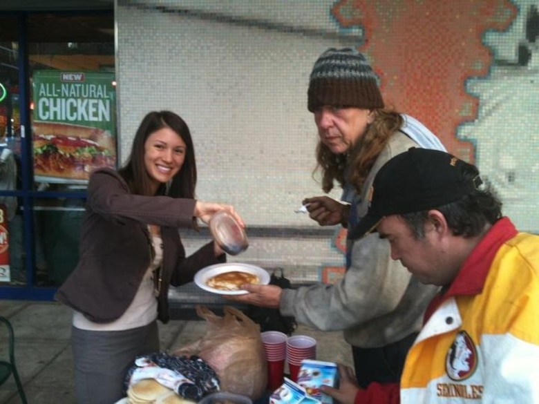 Tech. Sgt. Anna-Marie Wyant helps feed the homeless in downtown Tampa once a week. (courtesy photo)
