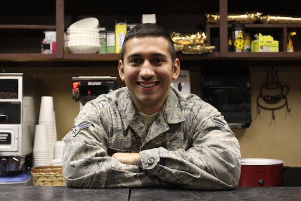 Senior Airman Johnny Ordonez poses in his new Mexican style restaurant. Ordonez, a reservist here in the 507th  Aircraft Maintenance Squadron partnered with his family and opened the La Fonda Café in December.