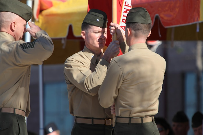 Lt. Col. Michael A. Brooks, Jr., the commanding officer of 1st Marine Special Operations Battalion, U.S. Marine Corps Forces, Special Operations Command, relinquishes his command to Lt. Col. John J. Lynch during a change of command ceremony at Camp Pendleton, Calif., March 1.