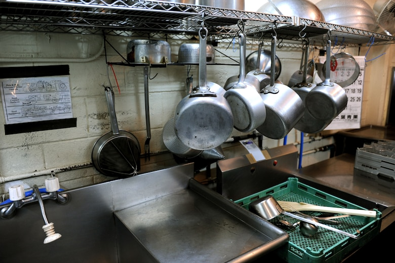 The kitchen at Okuma's Surfside Restaurant must be kept clean and orderly at all times on Okuma, Japan, Feb. 2, 2013. As one of his additional duties, U.S. Air Force Tech. Sgt. Douglas Caldwell, Okuma independent medical technician, consistently checks the restaurant for health hazards. (U.S. Air Force photo/Airman 1st Class Brooke P. Doyle)