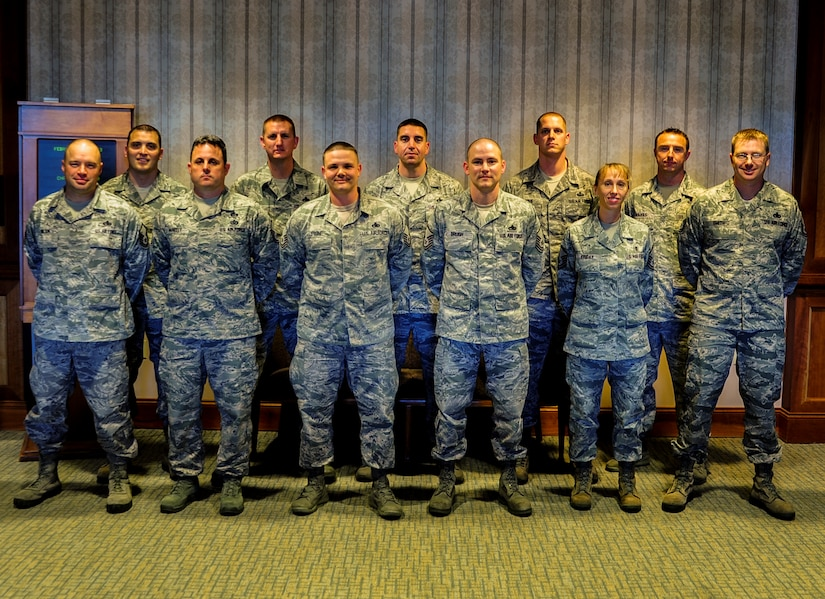 Twelve members of Team Charleston were selected for promotion to the rank of senior master sergeant Feb. 28, 2013. (Front row) Senior master sergeant (selects) are Christopher Wilson, Kurt McNeely, Michael Stone, Shawn Brugh, Tina Friday, Ricky Smith, (back row) Jamey Elms, John Lipsey, Steven Hart, Scott Levesque, Justus Hanks. Not pictured is Earl Ragland. More than 1,360 master sergeants were selected Air Force wide out of 12,834 eligible, for promotion. (U.S. Air Force photo/Airman 1st Class Tom Brading)