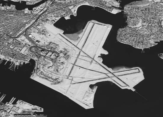 A 2.5 meter image of the Boston Logan International Airport (BOS) taken from the SPOT-5 satellite on February 10, 2013.  BOS averages over 900 flights per day and was forced to cancel flights after receiving up to 24.9 inches of snow. The airport gradually resumed normal operations by February 11, 2013. (National Guard satellite image courtesy 169th Communications Flight, Eagle Vision IV/RELEASED)