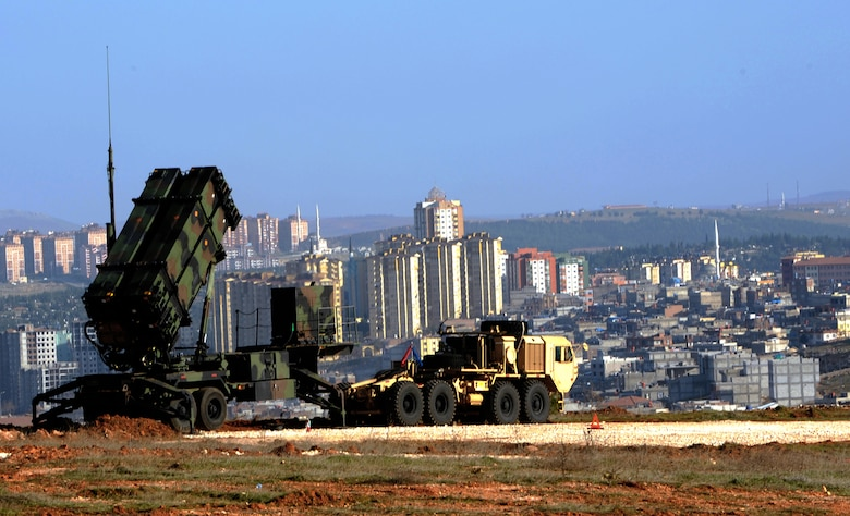 Patriot missiles stand guard over Gaziantep, Turkey, Feb. 28, 2013. Soldiers from the 3rd Battalion, 2nd Air Defense Artillery unit from Fort Sill, Okla., are deployed to Turkey to support the NATO mission of promoting regional stability and to augment Turkey's air defenses. (U.S. Air Force photo by Senior Airman Daniel Phelps/Released)