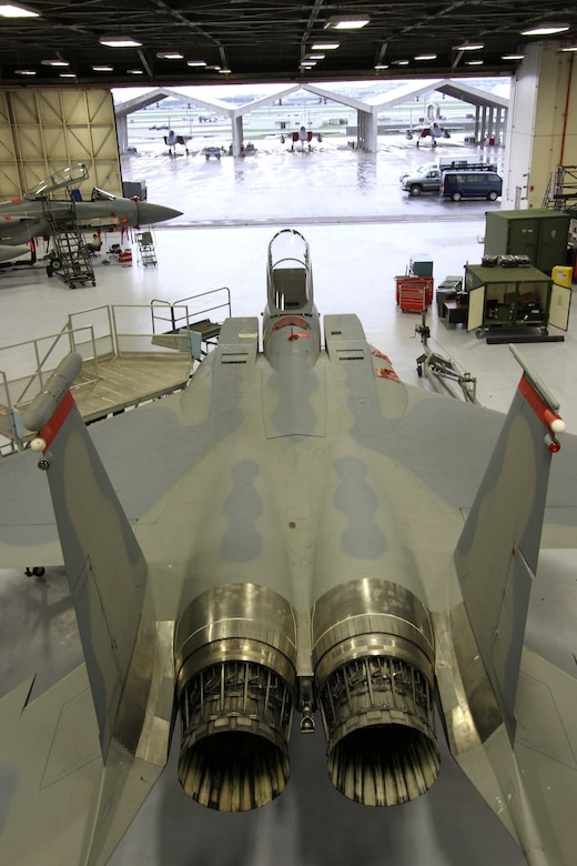 A 44th Fighter Squadron F-15 Eagle fighter aircraft undergoes maintenance on Kadena Air Base, Japan. The 44th FS was recently awarded the Raytheon Trophy for 2012. (Courtesy photo by Jake Melampy)