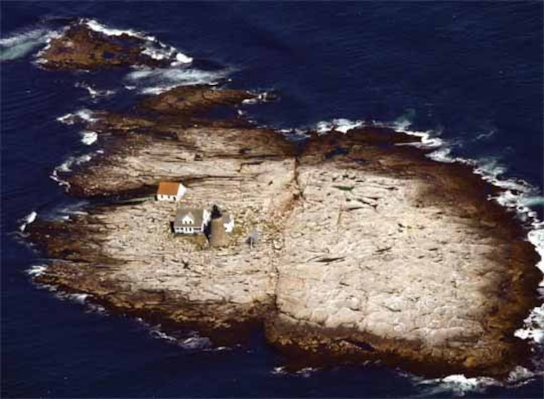 An aerial view of Mount Desert Rock, Maine, shows the tiny, remote, treeless island where scientists recently conducted sea spray studies.