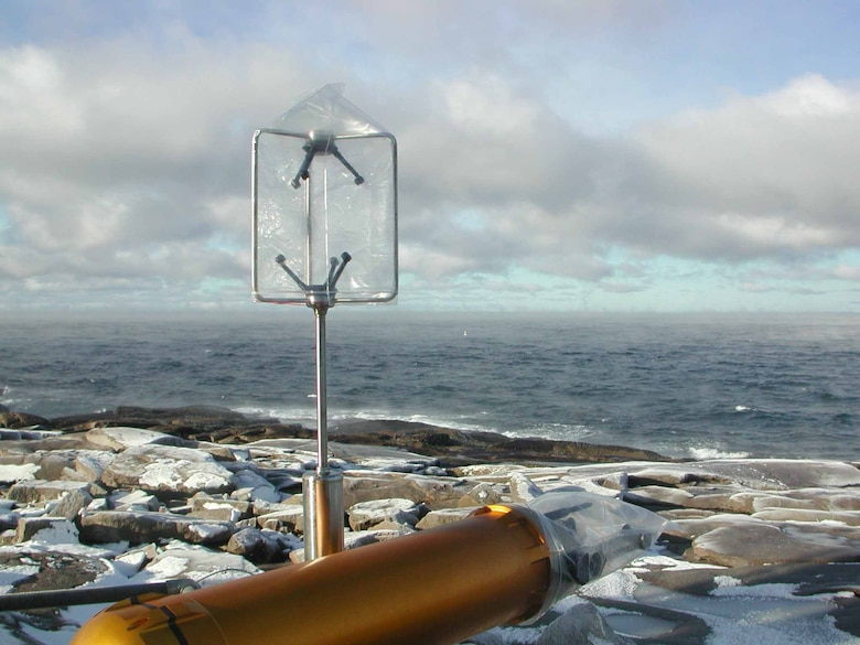 A cloud imaging probe with sonic anemometer on the foghorn platform, used to measure sea spray.