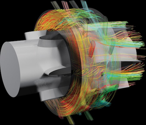 Huntsville Center's Information Technology Service Office supports the Defense Department's High Performance Computing Modernization Program, which uses technology to research, develop, test and evaluate objectives like the flow efficiency in a turbine tank engine, seen in this advanced computer simulation.