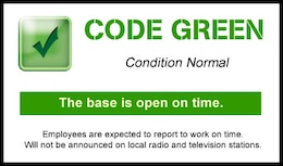 "Marine Corps Base Quantico is CODE GREEN for March 6. This is the ""normal"" Base Operating Status. When the Base Operating Status is Code Green, the Base is open and employees are expected to report to work on time. Will not be announced on local radio and television stations. For more information on Base Operating Statuses visit http://www.quantico.usmc.mil/OPM/?m=Weather."