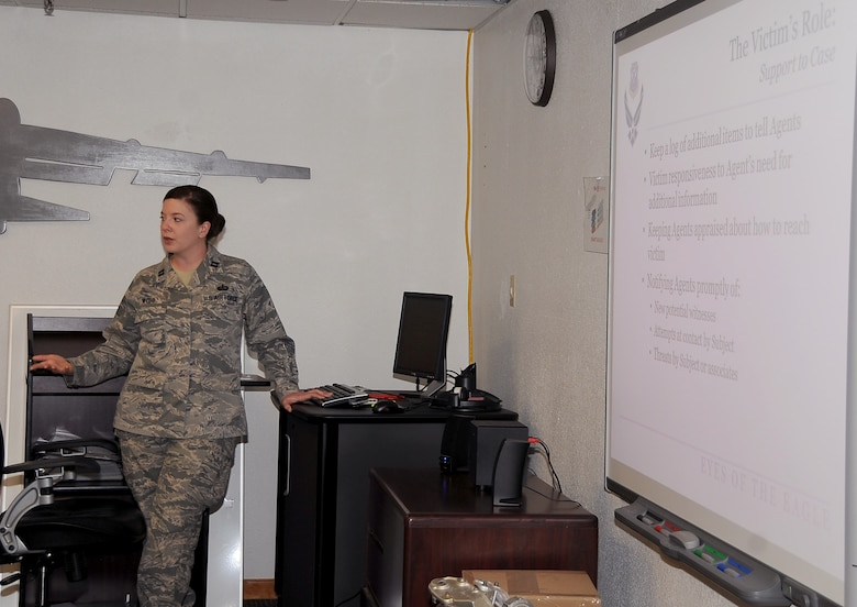 Capt. Dallas Webb, Barksdale's Sexual Assault Response Coordinator, briefs Airmen during a week-long Victim Advocate training on Barksdale Air Force Base, La., Feb. 27. An application must be submitted to the SARC by those seeking to become a VA. Those who are selected are required to have an initial 40 hours of training before becoming a VA. (U.S. Air Force photo/Staff Sgt. Amber Ashcraft)
