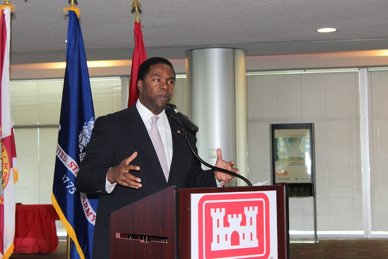 """""""Black history means accountability, responsibility and opportunity. It means that we have the ability to work together to fully empower people and believe that they too could live the American dream,"""" said Jacksonville Mayor Alvin Brown when he spoke at Jacksonville District's Black History month closing ceremony."""