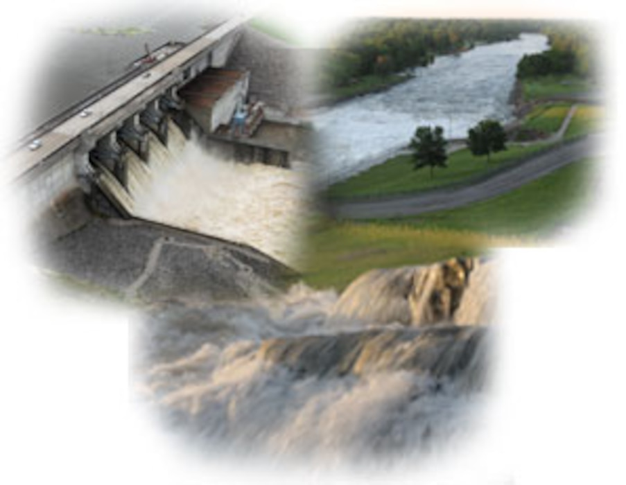 Graphic of water resources, including a dam.