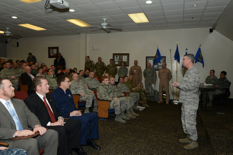 Col. John Conoley, commander, 136th Airlift Wing gives encouraging words to the deploying Airmen  at NAS Fort Worth JRB, Texas, Feb. 26, 2013. Representatives from State legislative offices and Brig. Gen. Kenneth Wisian, Texas Asssistant Adjutant Genenral, Air, were present to send off the Airmen who will support the Air Expeditionary Forces in Southwest Asia from 60 to 180 days. (National Guard photos by Senior Master Sgt. Elizabeth Gilbert)