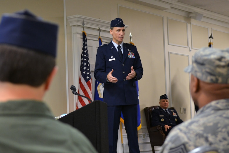 "U.S. Air Force Lt. Col. Juris Jansons, new commander of the 495th Fighter Group, speaks to group Airmen and guests during the 495th Fighter Group activation ceremony, Shaw Air Force Base, S.C., March 8, 2013. Jansons has administrative control of more than 600 Airmen assigned to active associate units linked to Air Combat Command. The activation at Shaw marks a historical moment in the Air Force's ongoing initiative to integrate active-duty Airmen, Air Reserve Component and Air National Guard units to streamline training, spending and resource use. These integrated units are called ""active associate"" units. The 495th Fighter Group will lead its active associate units into the future of Air Force pilot training. 