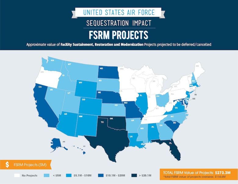 FSRM projects: approximate value of facility sustainment, restoration and modernization projects projected to be deferred/cancelled. (U.S. Air Force graphic)