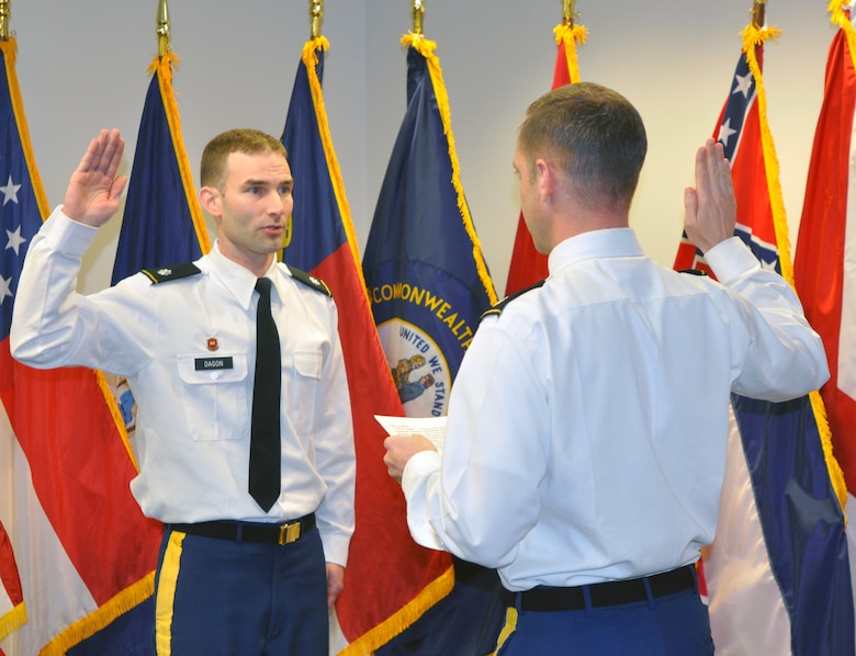Lt. Col. James A. DeLapp, Nashville District commander, administers the oath of office to his Deputy District commander, Lt. Col. Patrick Dagon during a promotion ceremony at the Nashville District headquarters, March 8, 2013. Dagon has been with the Nashville District since Aug 2011. His next assignment is with the Defense Threat Reduction Agency at Kirtland Air Force Base, Albuquerque, N.M., with a report date in August. (USACE photo by Mark Rankin)