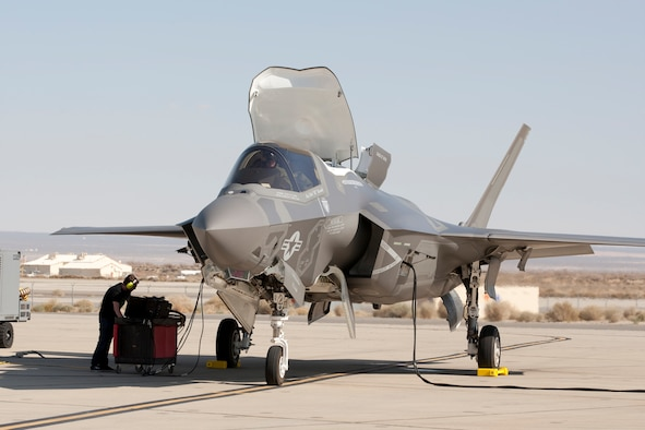 BF-17 arrival at Edwards Air Force Base March 5.  The F-35B is the short takeoff and vertical landing (STOVL) variant of the F-35 Lightning II and is operated by the Marine Corps. It's the first mission systems B-variant to arrive at Edwards.  (Photo by Tom Reynolds/Lockheed Martin)