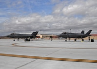 A new phase of testing with the F-35 Lightning II program begins with the arrival Mar. 6 of the first two operational test aircraft at Edwards. (U.S. Air Force photo by Laura Mowry)