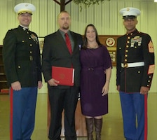 Cody E. Hammer, Geospatial Information Systems Specialist at Piney Woods Regional Project, was presented with a Purple Heart December 17, for wounds received in action on Aug. 19, 2011 while serving as a U.S. Marine in Afghanistan. The ceremony was held at the Marine Corps League Building in Longview, Texas, and was attended by his wife Katie and family, friends, and coworkers from Lake O' The Pines and Piney Woods Regional Project.