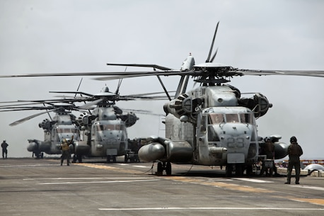 CH-53E Super Stallion helicopters from Marine Medium Helicopter Squadron 262 (Reinforced), 31st Marine Expeditionary Unit, await clearance for take-off from the flight deck here, March 14. The 31st MEU is currently deployed with Amphibious Squadron 11, conducting their semi-annual Certification Exercise. CERTEX is designed to test the MEU's wide range of capabilities, ensuring their readiness for any contingency that may occur in the region. The 31st MEU is the Marine Corps' force in readiness for the Asia-Pacific region and the only continuously forward-deployed MEU.