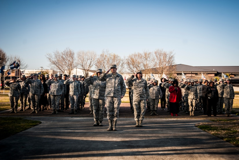 Colonel Judith Hughes, 628th Medical Group commander, leads an all-female flight of Airmen in a Retreat ceremony March 8, 2013, in honor of Women's History Month at Joint Base Charleston – Air Base, S.C. Women's History Month is an annual observance recognized around the world, and highlights the contributions of women throughout history and in today's society. (U.S. Air Force photo/ Senior Airman Dennis Sloan)