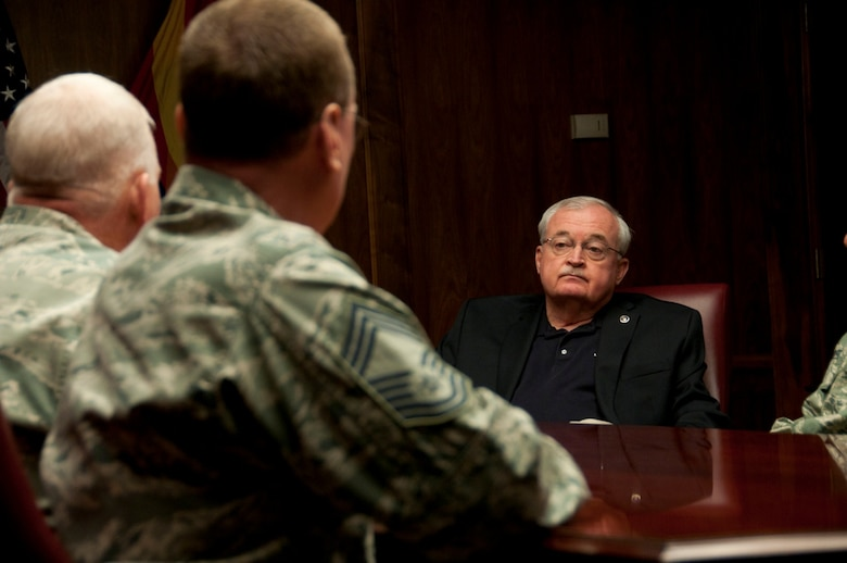 Retired Command Chief Master Sgt. Richard Smith, 9th Command Chief of the Air National Guard, listens to chiefs and first sergeants of the 162nd Fighter Wing during his visit March 9. Smith was in Tucson, AZ. for the Outstanding Airman of the Year awards ceremony. (U.S. Air Force photo by Staff Sgt. Heather Davis)