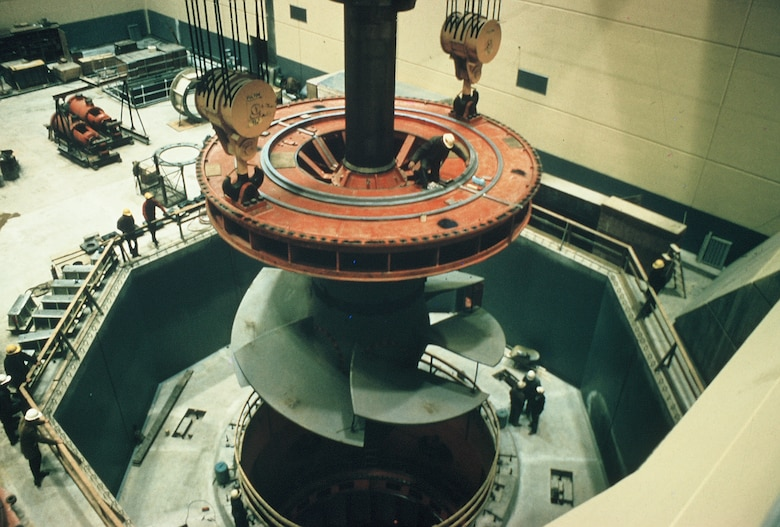 The original turbine at the Stockton Lake Power Plant is installed in the early 1970s. Significant activity will occur in the area of the plant in the spring of 2013 when it is removed and placed on permanent display near the Power Plant switchyard.