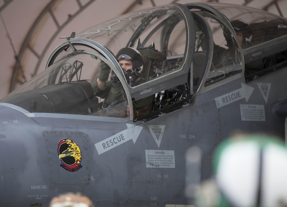 1st Lt. Donald Groves, a native of Germantown, Tenn., prepares to take flight in an AV-8B Harrier during flight training at Marine Corps Air Station Yuma, March 5. Groves, along with many other pilots from Marine Attack Training Squadron 203, travel to MCAS Yuma for optimal training ranges and weather conditions.