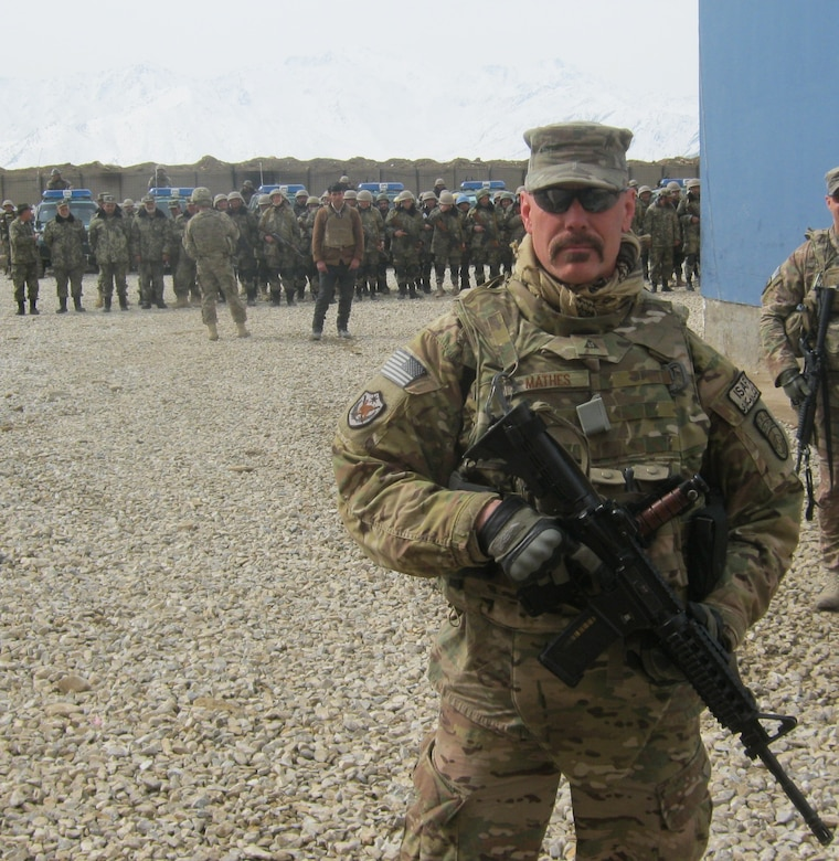 Former Tinker AFB employee Randy Mathes in Wardak Province, Afghanistan, as he assists in the operational standup of the first Afghan security battalion his NATO task force helped establish. (Courtesy photo)
