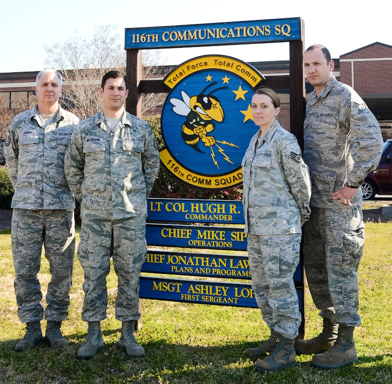 Members of the 116th Air Control Wing's communications squadron who won the Air National Guard Information Dominance and Functional Awards, pose for a group photo in front of their work center at Robins Air Force Base, Ga., March 15, 2013.  The Guardsmen, along with Lt. Col. Hugh Goff, not shown, captured five of 10 national level awards in the Base Communications category.(U.S. Air Force photo by Master Sgt. Roger Parsons/Released)