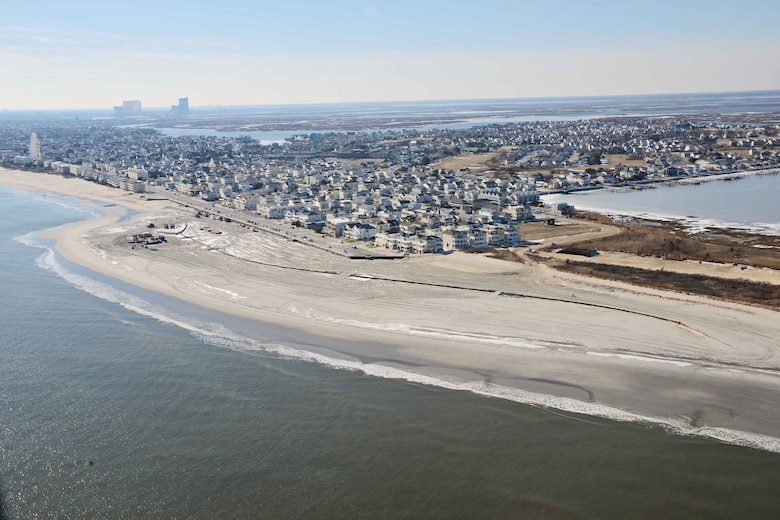 The U.S. Army Corps of Engineers Philadelphia District pumped 667,000 cubic yards of sand onto the beach at Brigantine, NJ. Work was completed in February of 2013 and is designed to reduce damages from coastal storms.