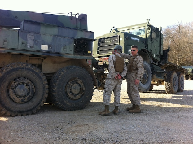 Lance Corporal Micheal T. Morin, CLB-6 is being supervised by Sgt Derick J. Buckley while conducting practical application of lifting a towed load with a AMK36 wrecker prior to operating with a towed load at Ft. Leonard Wood, MO while attending Vehicle Recovery Operator Course 3-12. This is one of the first events that students learn in the course prior to becoming certified as a 3536 NMOS (Vehicle Recovery Operator).