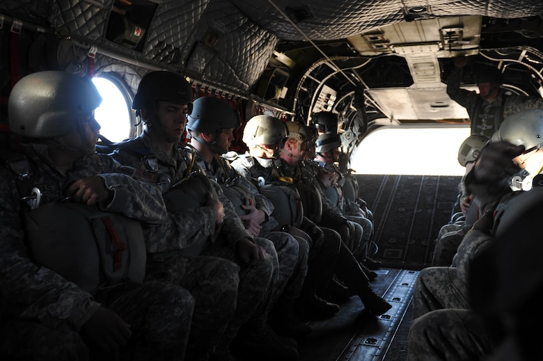 The 10th Special Forces Group members ride on a CH-47 Chinook before parachuting for a training mission March 6, 2013, at Fort Carson, Colo. With the assistance of the Colorado Army National Guard Aviation Support Facility members and assets, 10th SFG members parachuted from the Chinook as part of a training mission. (U.S. Air Force photo by Airman 1st Class Riley Johnson/Released)