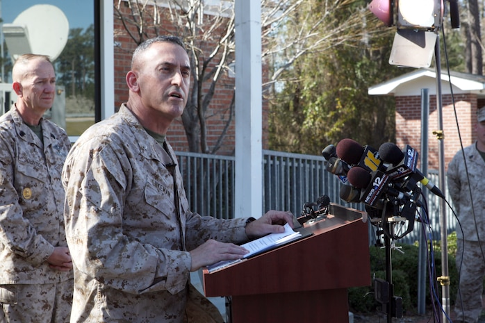 Brig. Gen. James W. Lukeman, 2nd Marine Division commanding general, offers his remarks and condolences to the crowd gathered outside the Main Gate of Marine Corps Base Camp Lejeune March 19. An explosion occurred shortly before 10 p.m., March 18 at Hawthorne Army Depot, Nev., while a 2nd Marine Division unit was conducting a live-fire training exercise. The Marine leadership on scene has already begun an investigation.  The explosion was believed to have been caused by a 60mm mortar round during a live-fire training exercise. The cause of the incident is under investigation, and more information will be provided as it becomes available.