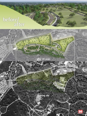 A graphic rendition showing the before and after of the Arlington National Cemetery's Millennium Project. The project will add 30,000 burial and niche spaces to the cemetery.