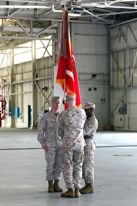 The passing of the colors from the outgoing commanding officer to the incoming commanding officer of Marine All-Weather Fighter Attack Squadron 533 takes place during the change of command ceremony held aboard Marine Corps Air Station Beaufort, March 11. During the ceremony, Lt. Col. Branden G. Bailey relinquished command of the squadron to Lt. Col. Kevin T. O'Rourke. O'Rourke will command the squadron as they prepare for an upcoming deployment.