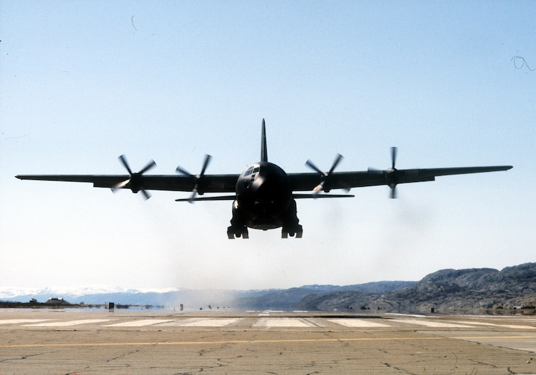 A 109th Tactical Airlift Group LC-130 takes off from Kangerlussuaq airport in Greenland in 1988 as the crew trains for snow landings in order to augment the Navy in the Antarctica in the coming months. (USAF Photo by MSgt Joe Pittelli/Released)